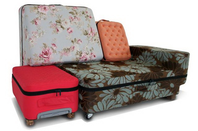 sofa of suitcases