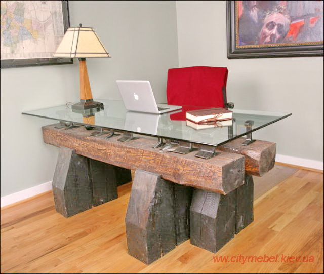 table made of wooden beams and glass