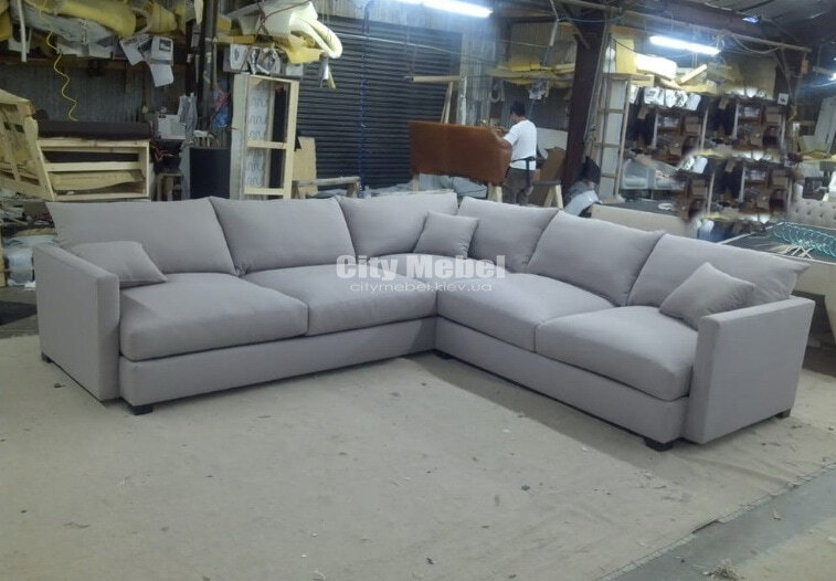серый угловой диван под заказ в Украине