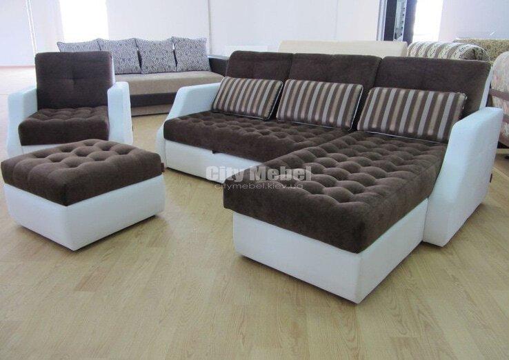 угловой диван с каретной перетяжкой