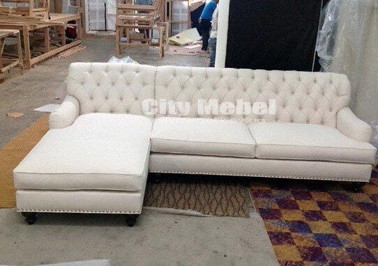 белй диван угловой с каретной стяжкой