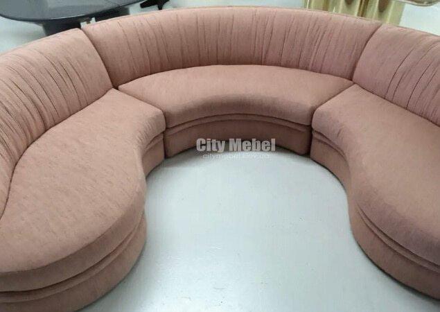 коричневый радиусный диван модульный
