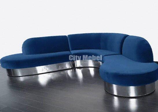 Модульная голубая радиусная мягкая мебель для прихожей