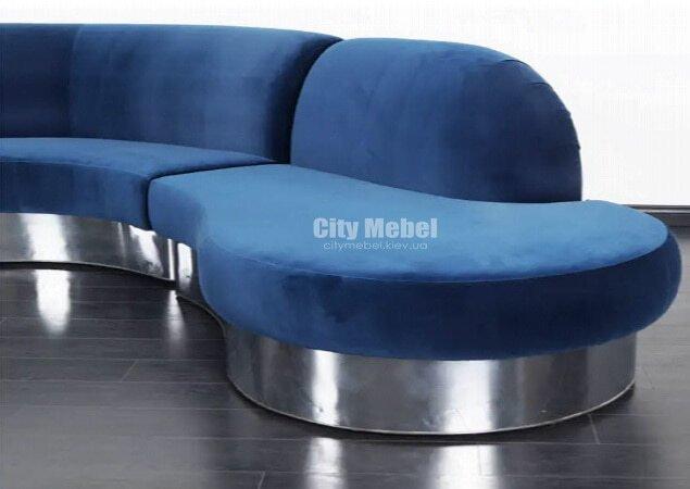 Модульная голубая радиусная мягкая мебель для прихожей на заказ