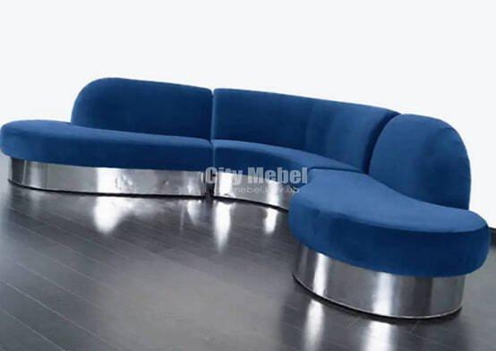 синий радиусный диван