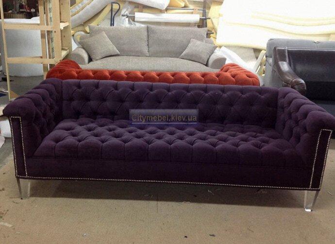 сиреневый прямой диван на заказ
