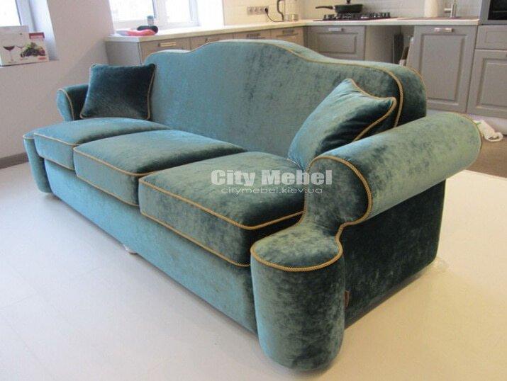 прямой диван зеленый необычной формы