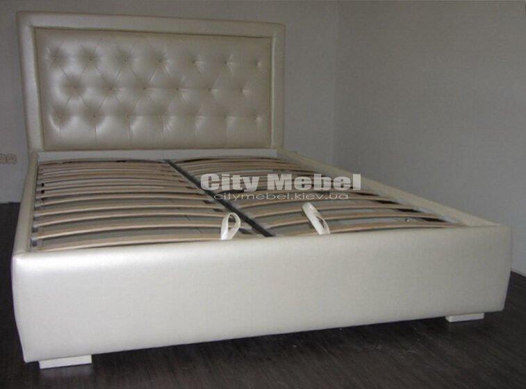 синяя двухспальняя кровать на заказ от производителя