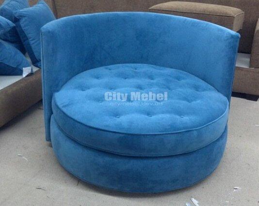 синий круглый пуфик кресло