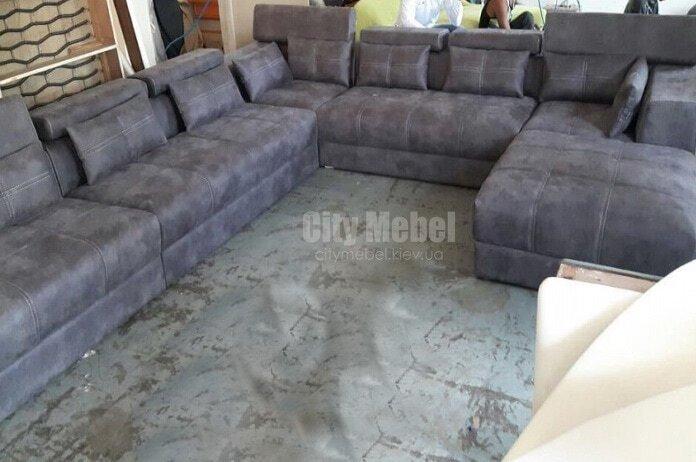 Серый  п образный диван заказать
