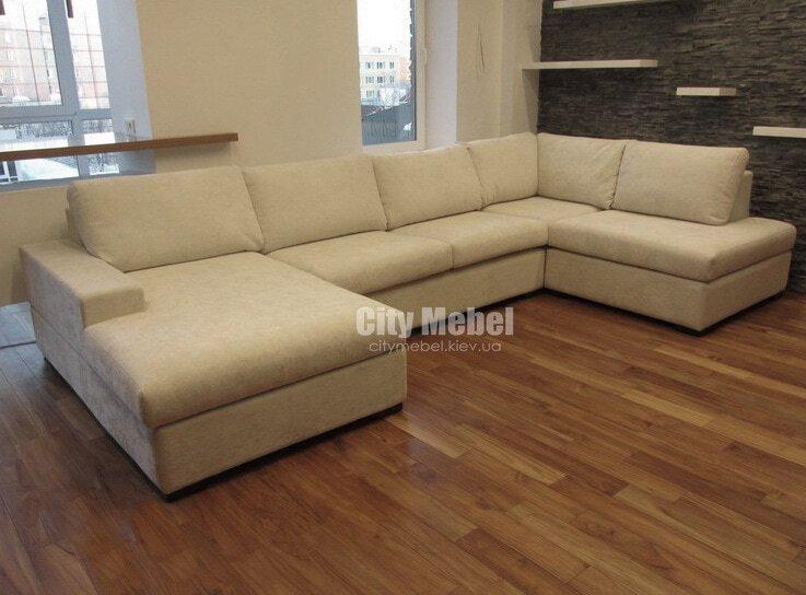 белый п образный диван