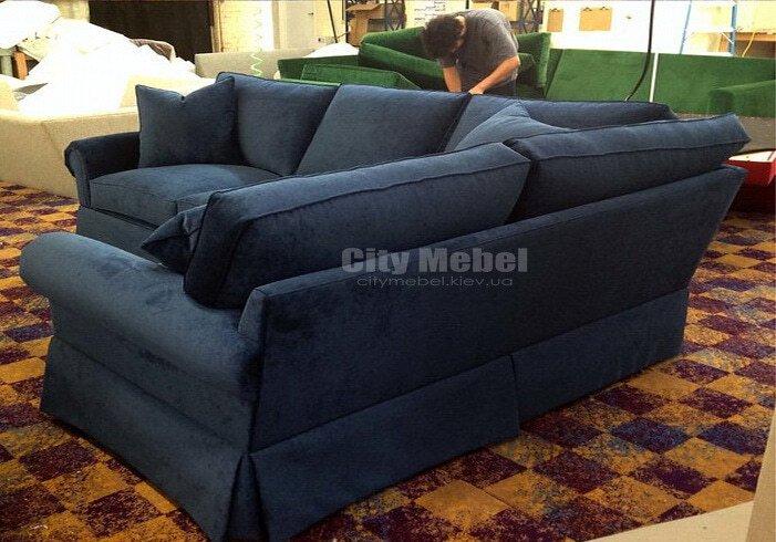 темно-синий угловой диван на заказ